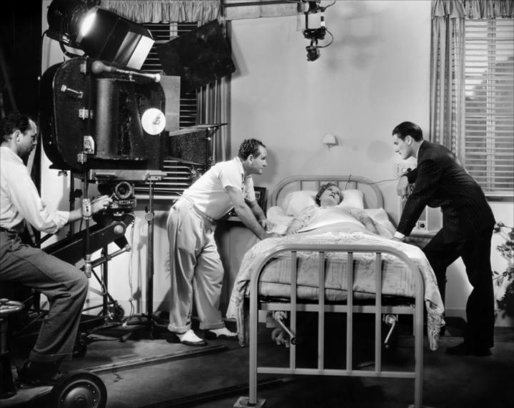 Cinematographer Byron Haskin, Borzage, Spring Byington, and Errol Flynn Making Green Light (1937)