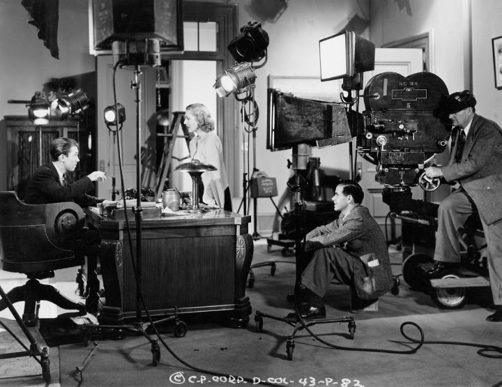 Jimmy Stewart, Jean Arthur, Capra, and Joseph Walker making 'Mr. Smith Goes to Washington' (1939)
