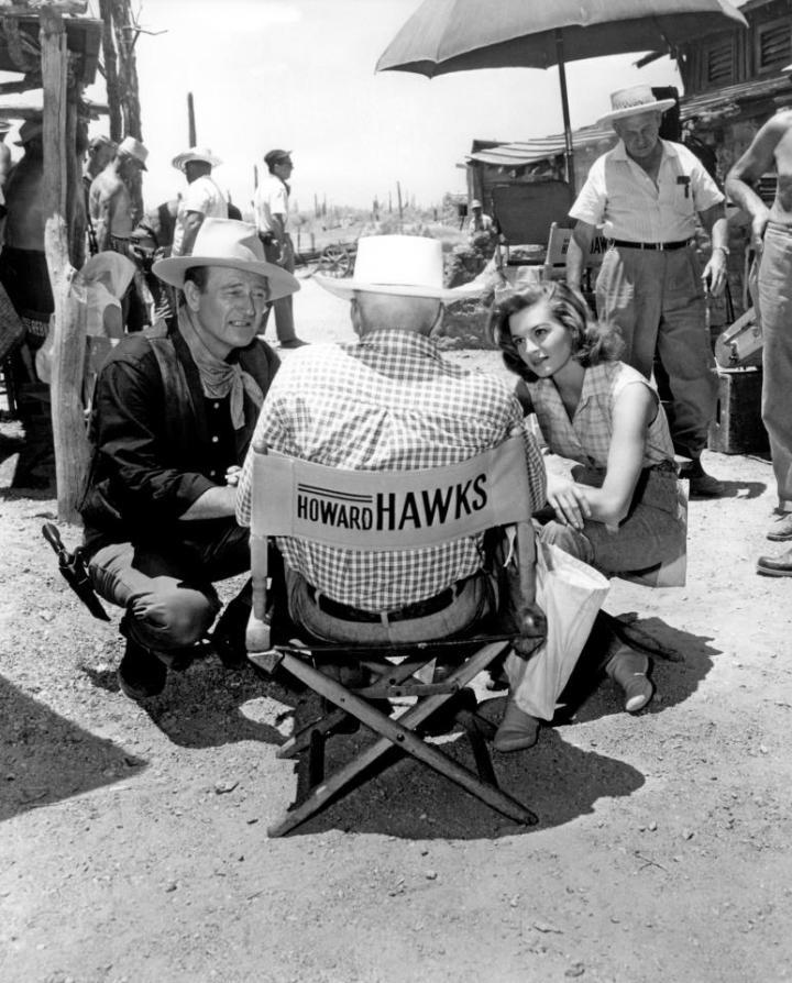 John Wayne, Hawks, Angie Dickinson making 'Rio Bravo' (1959)