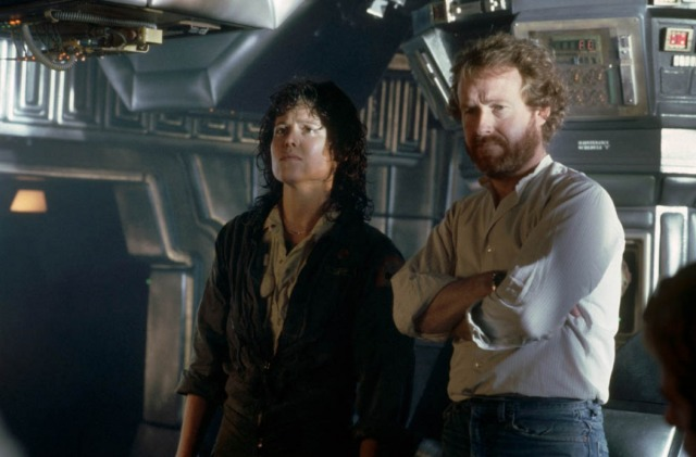 Sigourney Weaver & Scott on the set of 'Alien' (1979)