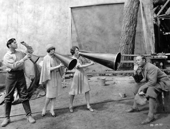 George O´Brien, Margaret Livingston, Janet Gaynor, F.W. Murnau on the set of 'Sunrise' (1927)