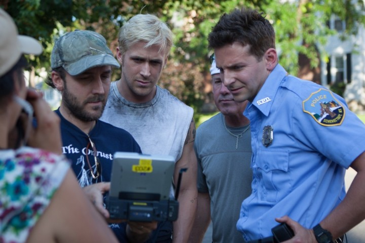 Derek Cianfrance, Ryan Gosling, & Bradley Cooper filming 'The Place Beyond the Pines' (2013)