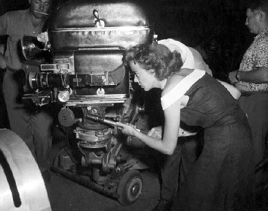 Ida Lupino Looking Through Movie Camera