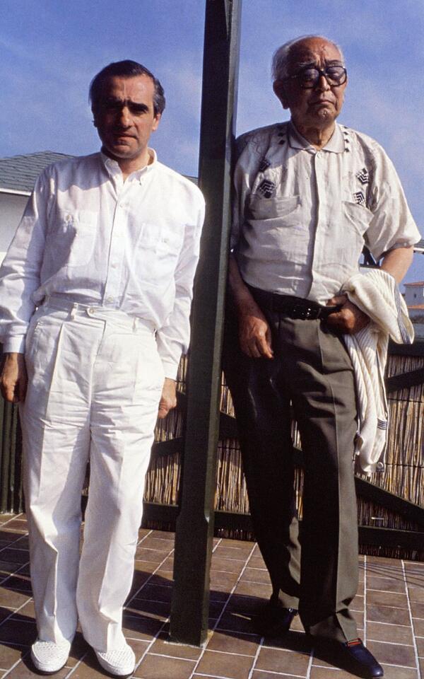 Martin Scorsese & Akira Kurosawa on the set of 'Dreams' (1990)