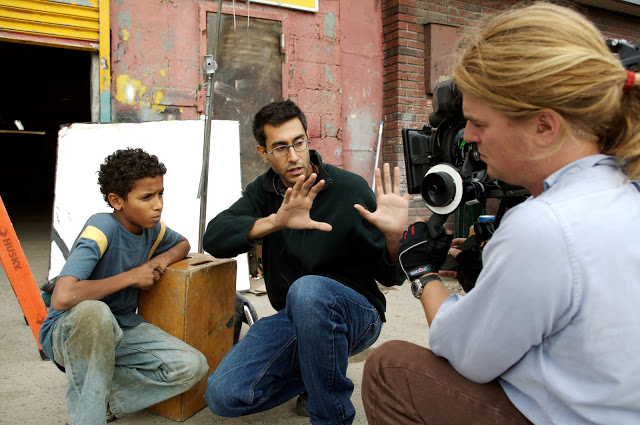 Alejandro Polanco, Ramin Bahrani & Michael Simmonds on the set of 'Chop Shop' (2007)