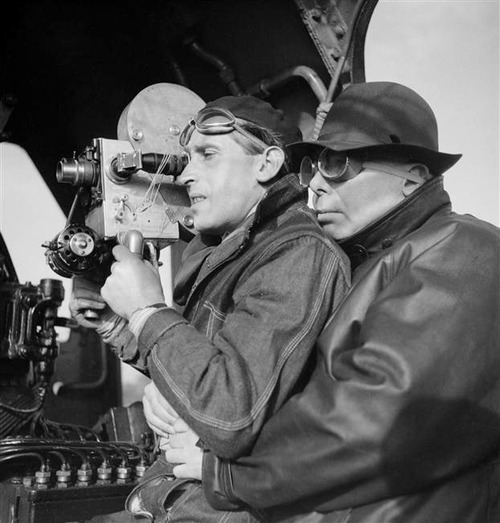 Curt Courant and Jean Renoir shooting 'La Bête Humaine' (1938)