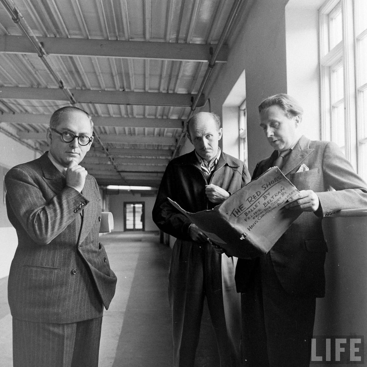 """Emeric Pressburger, Michael Powell & Brian Easdale prepping """"The Red Shoes"""" (1948)"""