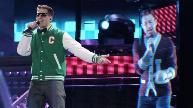 "Andy Samberg performs with Adam Levine's hologram in ""Popstar: Never Stop Never Stopping"" ©Universal Pictures"