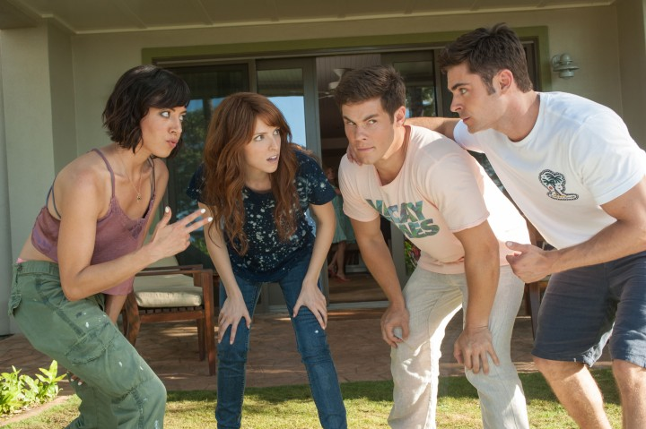 Tatiana (Aubrey Plaza) and Alice (Anna Kendrick) get to know their dates, Mike (Adam Devine) and Dave (Zac Efron). Photo Credit: Gemma LaMana.